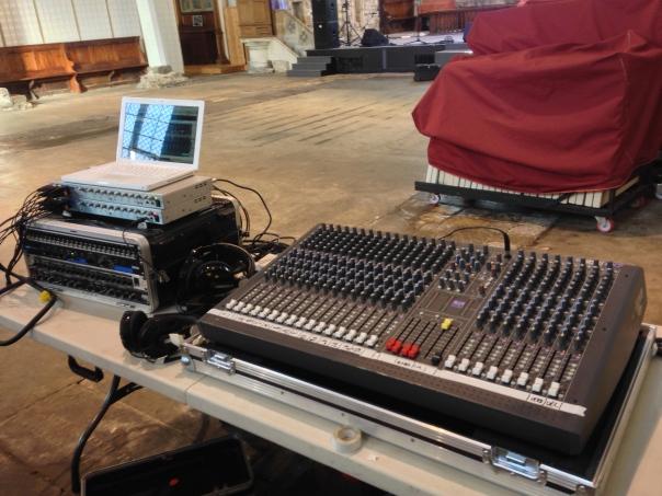 A live sound/recording setup.